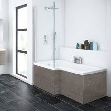 brooklyn grey avola shower bath 1700mm l shaped inc screen