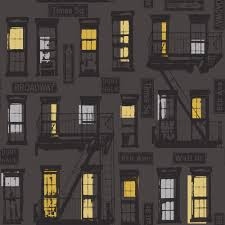 Design House Skyline Yellow Motif Wallpaper Rasch Portfolio New York Red Brick Black White Photo Wallpaper 235005