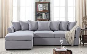 Sectional Gray Sofa Joanne Linen Sectional With Wide Chaise Lounge Sofamania