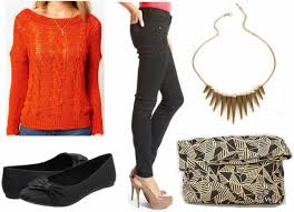 color combo to try black orange college fashion