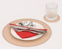 Placemats For Round Table Round Placemats Recycled Leather Placemats And Coasters For