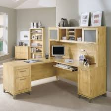 Small Hutch For Desk Top Furniture Nice L Shaped Desk With Hutch And Small Potted Plants