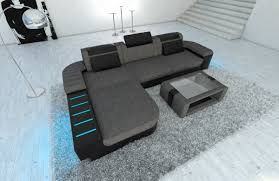 sofa mit led design fabric sofa bellagio l shaped with led half leather