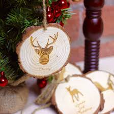 personalised deer family christmas tree decoration by beecycle