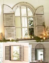 Home Decor Mirrors Vintage Window Shutter Decor Wooden And Metal Window