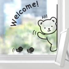 aliexpress com buy cute cartoon bear welcome wall sticker glass