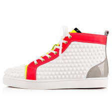 christian louboutin louis spikes leather high top trainers in