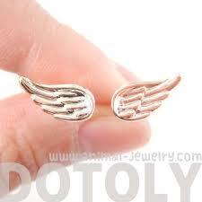 feather stud earrings small angel wings feather stud earrings in light gold