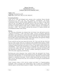 diagnostic report template sle evaluation school age client