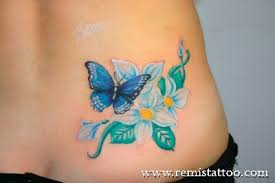 flower butterfly no outline tattoos