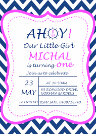 pink birthday invitations a navy blue nautical 1st birthday party my practical birthday guide