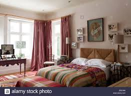 Floor Length Curtains Pink Fabre Floor Length Curtains In Bedroom With Wicker