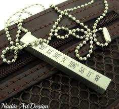 personalized bar pendant necklace personalized latitude longitude 4 sides engraved bar pendant