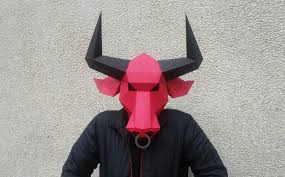 printable bull mask diy bull mask 3d papercraft by paper design bundles