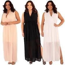 new ladies plus size wrap front chiffon side split maxi dress 12