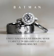 superman wedding rings reserved for limaris carmona bat design by cloud9tungsten on etsy