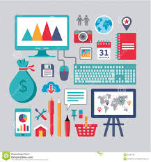 flat design business vector icons for different creative works