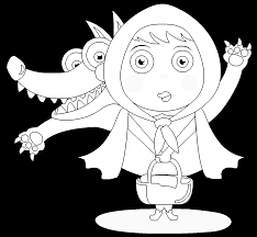 little red riding hood and the wolf free online coloring page