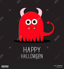 halloween monsters background cute red evil monster with horns and fangs happy halloween card