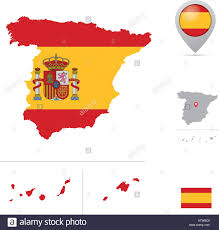 Flag Capital Spain Map In National Flag Colors Flag Marker And Location Of
