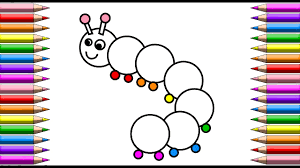 draw color and paint a rainbow caterpillar coloring pages for kids