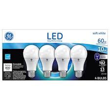 ge led light bulbs ge 10 watt a19 led light bulbs sof white 4pk sam s club