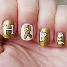 go gold nail art for childhood cancer awareness month all