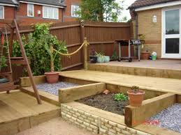 Slabbed Patio Designs Paul S Railway Sleeper Garden For Nicky
