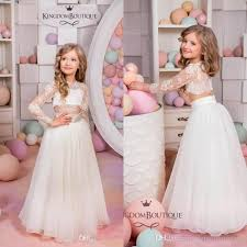 kingdom boutique two pieces flower girls dresses cheap cute sheer