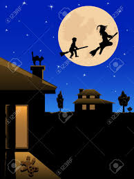the witch and the boy fly on the night sky on the moon background the witch and the boy fly on the night sky on the moon background illustration