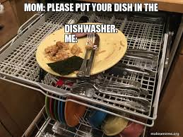 Mom Please Meme - mom please put your dish in the dishwasher me make a meme
