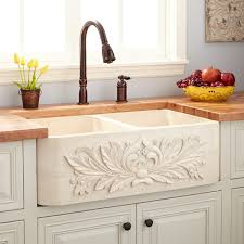 Kitchen Faucets For Farm Sinks Sinks Ivy Double Bowl Farmhouse Sink Cream Egyptian Marble Bronze