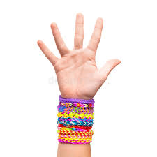 hand rubber bracelet images Hand with colorful rubber rainbow loom bracelets isolated stock jpg