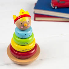 personalised traditional stacking toy by auntie mims