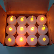 halloween led candles 12 pack tealight candle led white yellow flickering flame