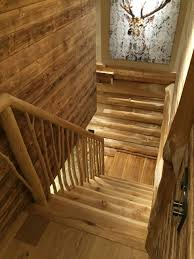 log staircase handmade by british log cabins
