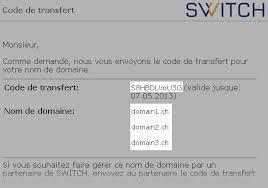 transfert de si e transferer un nom de domaine de switch vers vtx ch