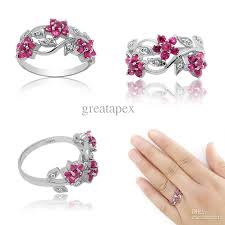 ruby sterling rings images Plum blossom jewelry natural ruby 925 sterling silver rings jpg