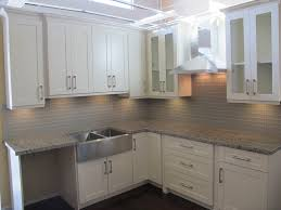 kitchen shaker style kitchen cabinets chrome pendant light brown