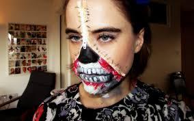 zipper face halloween make up tutorial youtube