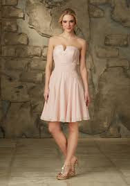 blush colored bridesmaid dress lace and chiffon morilee bridesmaid dress with unique neckline