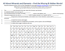 image of minerals and elements worksheet free printable