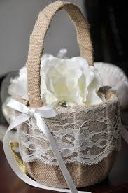 wedding baskets linen flower decorated wedding baskets basket for wedding