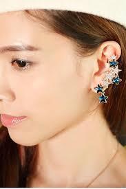 cuff ear blue faux gemstone decor ear cuff fashion earrings