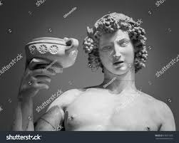 dionysus bacchus wine statue portrait stock photo 378211972