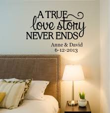 love story quote wall decal by decor designs decals love story a true love story never ends personalized custom name established date quote vinyl wall decal sticker