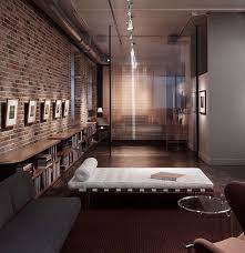 home architecture living room brick wall classic design interior