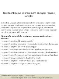 Engineering Resume Examples by Top 8 Continuous Improvement Engineer Resume Samples 1 638 Jpg Cb U003d1431567727