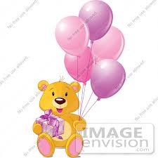 teddy balloons royalty free rf clip of a teddy with a gift and pink