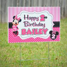 minnie mouse dot personalized yard sign